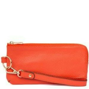 ORA DELPHINE LEATHER WRISTLET RED NEW